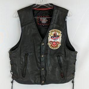 Milwaukee motorcycle vest black leather